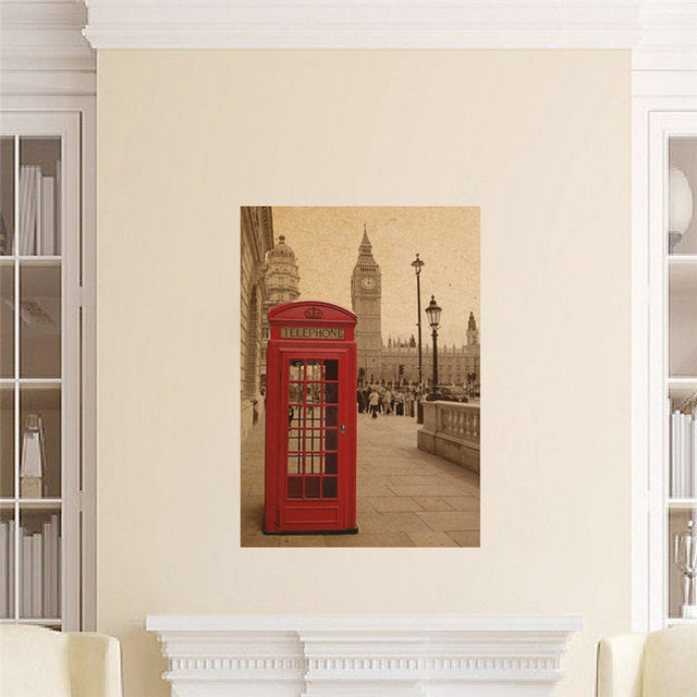 Online Shop London phone booth vintage posters home decor living ...