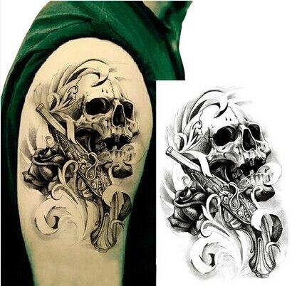 1 Hoja Impermeable Tatuaje Cráneo Grande Pistola Diseño Tatuaje