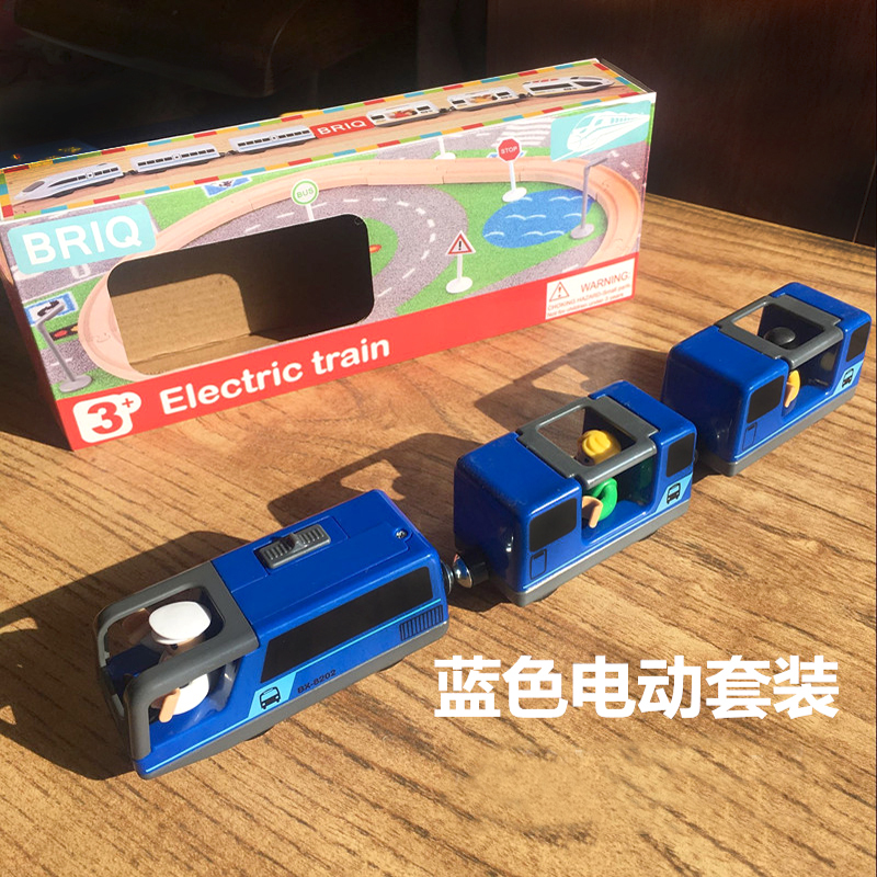 w111 free shipping Combination of electric magnetic locomotive and Blue electric train set compatible with Thomas train rail set
