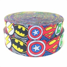 2014 NEW  wholesale 5/8+7/8(16mm+22mm 20yards/lots) Polyester Super hero Cartoon Woven Jacquard Ribbon For Dog Collar