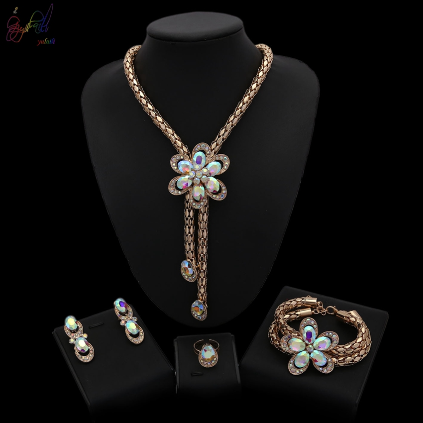 YULAILI Famous Brand Necklace Set for Women Party Wedding Luxury Gold Color Flower Costume Dress Jewelry SetYULAILI Famous Brand Necklace Set for Women Party Wedding Luxury Gold Color Flower Costume Dress Jewelry Set