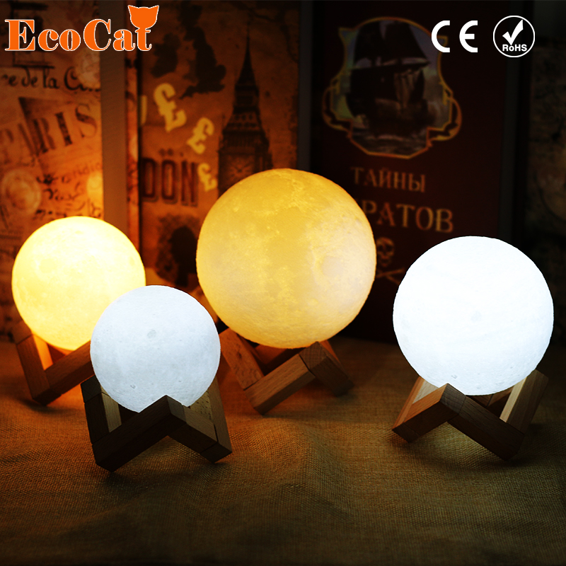 Rechargeable 3D Print Moon Lamp 2 Color Change Touch Switch Bedroom Bookcase Night Light Home Decor Creative Gift цены онлайн