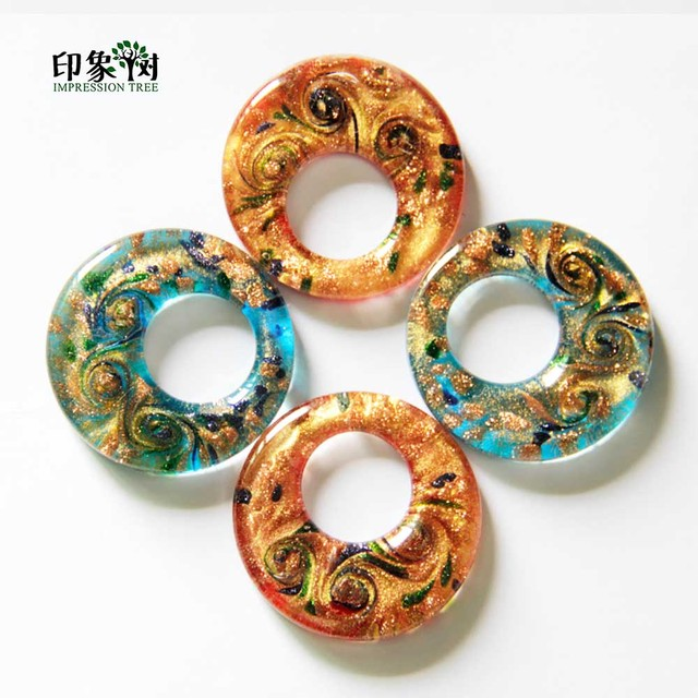 2pcs 46x9mm Handmade Ethnic Round Hollow Lampwork Beads Gold Sands Big Hole Glass Pendant Blue/Red DIY Jewelry Making 1612