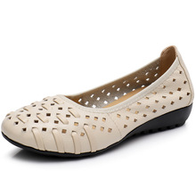 Womens Shoes Summer New Cow Leather Sandals Woman Low Cut Slip-on Fretwork Wedges Fashion Casual High Quality Promotion