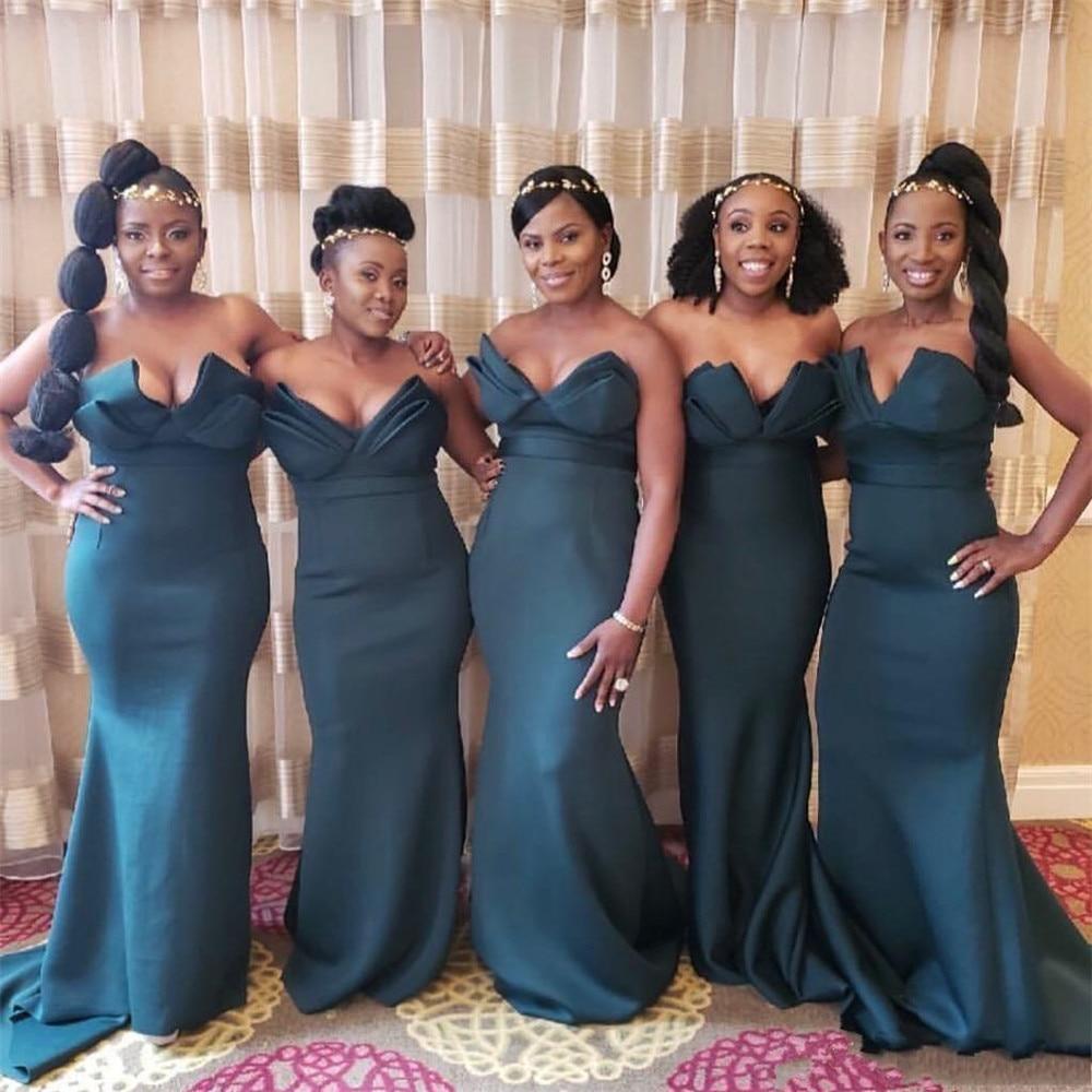 Dark Green Mermaid African   Bridesmaid     Dresses   Sweetheart Off The Shoulder Long Satin Wedding Party Gowns Cheap 2019 Women   Dress