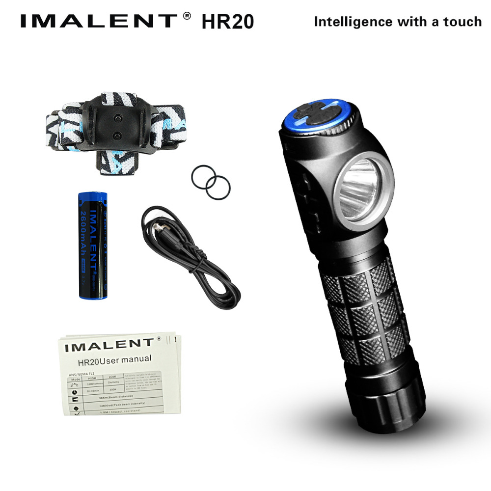 USB Rechargeable IMALENT HR20 Cree XP-L Flashlight Touch 1000 Lumens Led Headlight with USB Charging Port with 1*2600 mAh 18650 new imalent ddt40 oled intelligence touch cree xpl hi led searchlight 4500 lumens flashlight with 4 2600mah 18650 batteries
