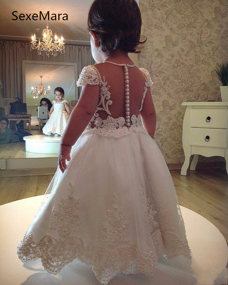 2018 Flower Girl Dresses For Weddings Cap Sleeves Tulle Appliques Pearls Long First Communion Dresses For Little Girls2018 Flower Girl Dresses For Weddings Cap Sleeves Tulle Appliques Pearls Long First Communion Dresses For Little Girls