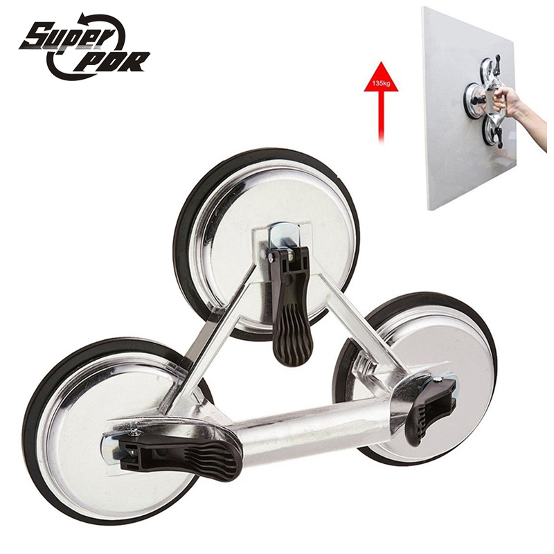 Heavy Duty 120mm Aluminum 3 Cups Claw Glass Suction Plate Sucker for 20-145KG Tile Floor Handling Dent Pull Sucker Pad free shipping heavy duty sucker napfts 80 30 n single sucker suction plate