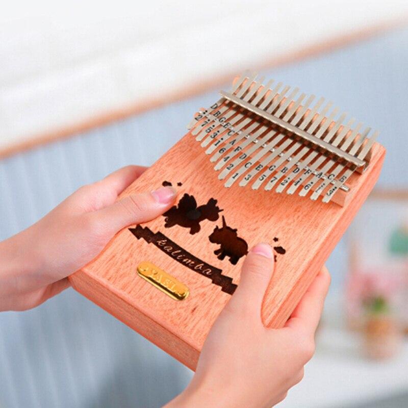 1 Juego De 17 Dedos De Llave Kalimba Pulgar Piano Bolsillo Tamaño Soporte Bolsa Gecko Teclado Marimba Madera Instrumento Musical