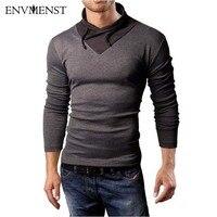 Envmenst 2017 Nouveau Style Coton t-shirt Printemps Automne Homme Collier Spécial T-shirt De Mode À Manches Longues Casual Patchwork T shirt