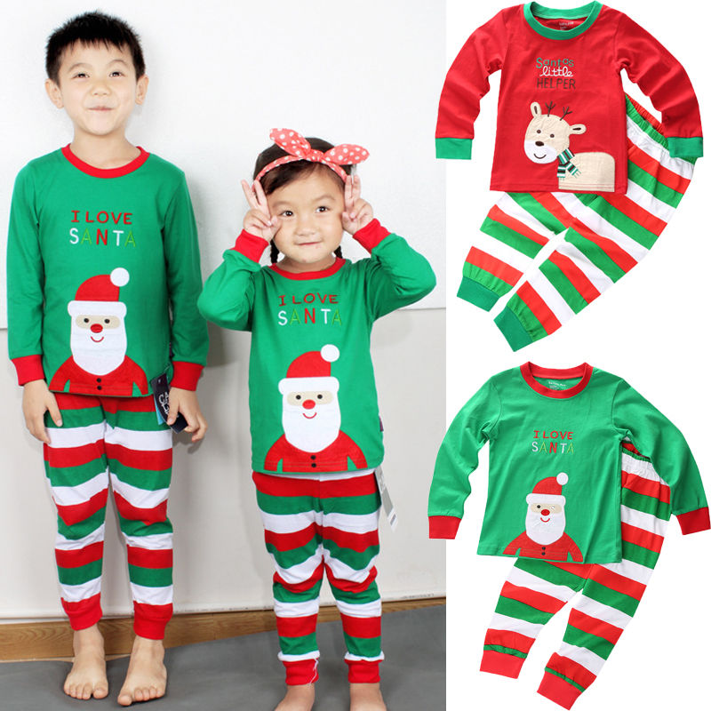 2Pcs Christmas Newborn Toddler Baby Girl Boy Santa Claus Reindeer   Pajamas   Striped Sleepwear Nightwear Clothing   Sets   1-8Years