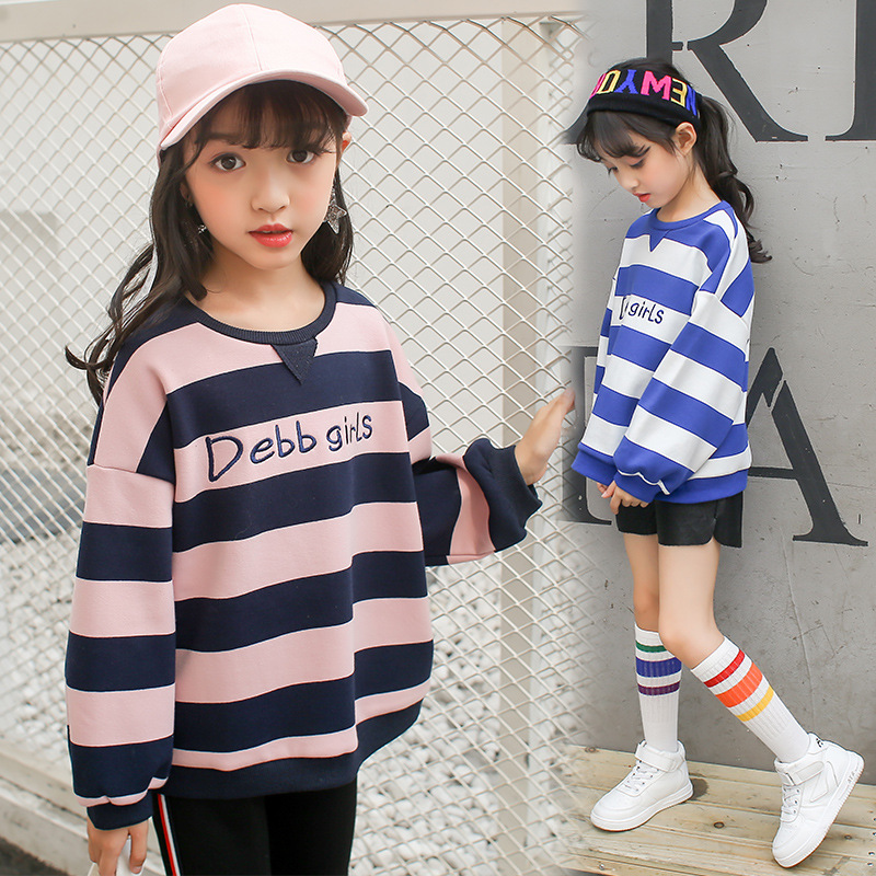 Girls Striped Fleece Hoodies Tshirt Girls Shirts 2018 Spring Autumn Kids Sweatshirt Warm Girls Tops Baby Clothes