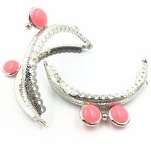 1Pc Kiss Clasps Lock Handbag Clutch Coins Purse Handle Round Fuchsia Resin Beads Head Silver Tone Ruffled DIY Arch Frame 85mm