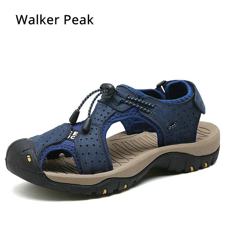 2018 Mens Sandals Genuine Leather Summer Shoes New Beach Men Casual Shoes Outdoor Sandals for man Plus Size 38-46 Walker Peak 38 46 plus size summer shoes men sandals leather shoes men casual summer sandals men summer shoes