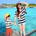Combinando Roupas de Algodão Listrado T-shirt de Manga Curta de verão Da Família Família Correspondência Mãe Filho Filha Roupas Família Roupas Combinando
