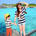 Summer Family Matching Clothes Striped Cotton Short Sleeve T-shirt Matching Mother Daughter Son Clothes Family Matching Outfits