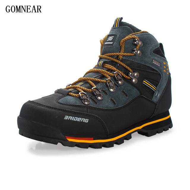 Gomnear Hiking Shoes Men Nonslip Big Size Outdoor Suede Leather Climbing Shoe  33NZV2Z3V
