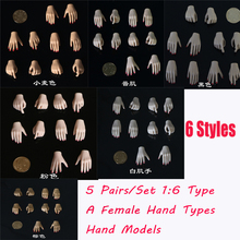 JIAOUDOL 1/6 Scale Hands Model 5 pairs/Set For 12 Female Figure Body A/B/C/D/E/F 6 Styles