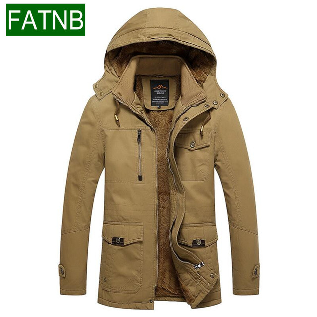 Winter Jackets Mens 100% Cotton Slim Fit Snow Parkas Warm Thick ...