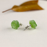 Handmade Flower Natural Jasper Pearl Stud Earrings For Women Simple Carving Green Jade Sterling Silver 925 Jewelry SE136