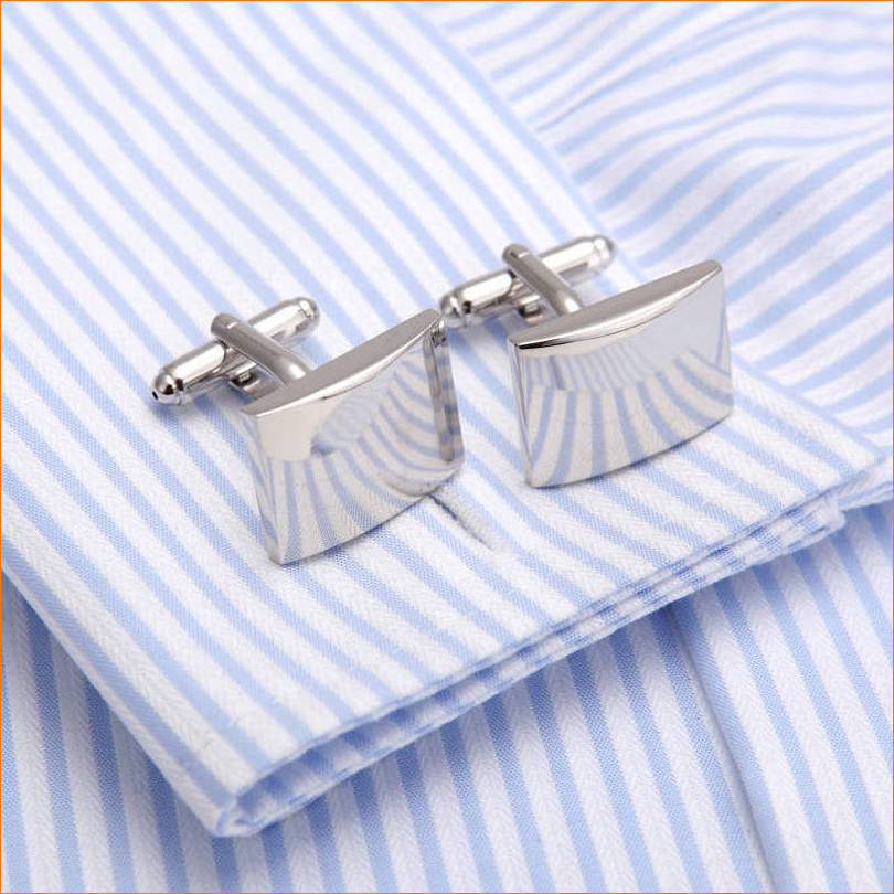 French Business mens cufflink Fathers Day top grade gift silver square shirt cuff nail a ...