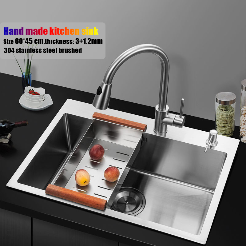 US $298.35 25% OFF|60*45cm topmount stainless steel kitchen sink handmade  single bowl big size water tank kitchen faucet brain basket and rack-in ...