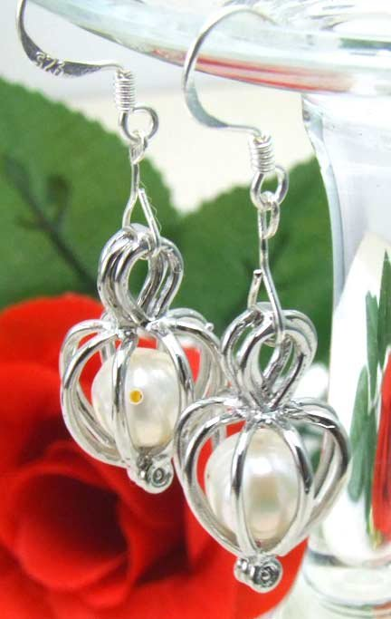 SALE heart pendant natural white pearl dangle earring matching wish pearl gift-ear172 Wholesale/retail Free ship