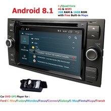 DVD плеер автомобиля Android 8.1DAB + 2din в тире для Ford Transit фокус подключения S-MAX Kuga Mondeo с четырехъядерным Wi Fi 4 г gps Bluetooth