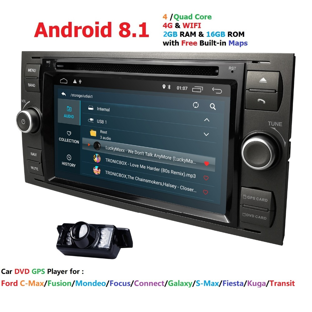 Car DVD Player Android 8.1DAB+2din In Dash For Ford Transit Focus Connect S MAX Kuga Mondeo With QuadCore Wifi 4G GPS Bluetooth