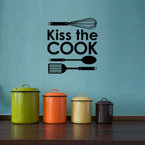 Cute Kiss Cook Kitchen Decal DIY Art Vinyl Wall Stickers Home Lettering Quote Decor Restaurant Wallpaper JG3167 Lahore