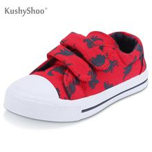 KushyShoo Toddler Sneakers for Boys Girls Cartoon Dinosaur Dual Hook and Loops Sneakers Baby Canvas Shoes Children's Sneakers(China)