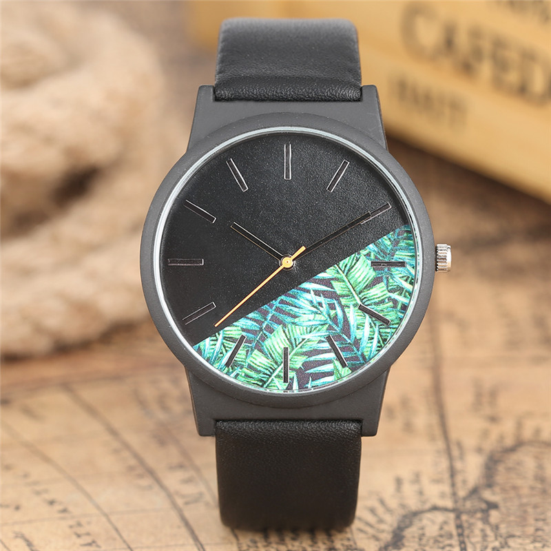 High Quality Hot Fashion Unique Men Quartz Wristwatch Leather Band Plants Design Dial Colorful Casual Sport Male Watches Gift simple fashion hand made wooden design wristwatch 2 colors rectangle dial genuine leather band casual men women watch best gift