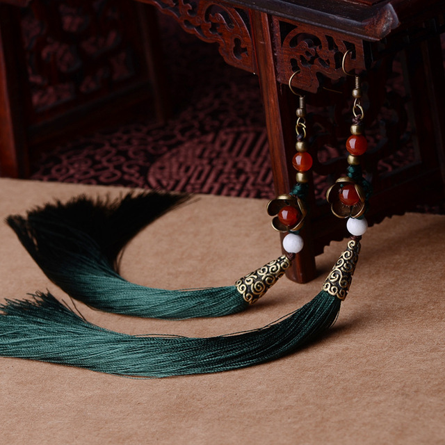 Exaggerate  Ethnic vintage earrings long fringe earrings green,Handmade Chinese wind stone Jewelry tassel earrings for women