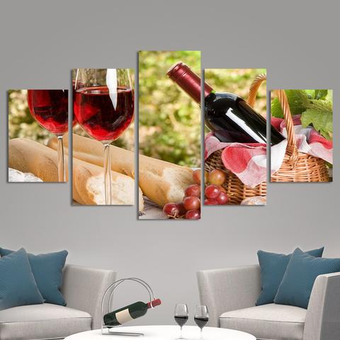 Canvas Print Art 5 Panel Hd Printed Painting Wine Grapes Poster