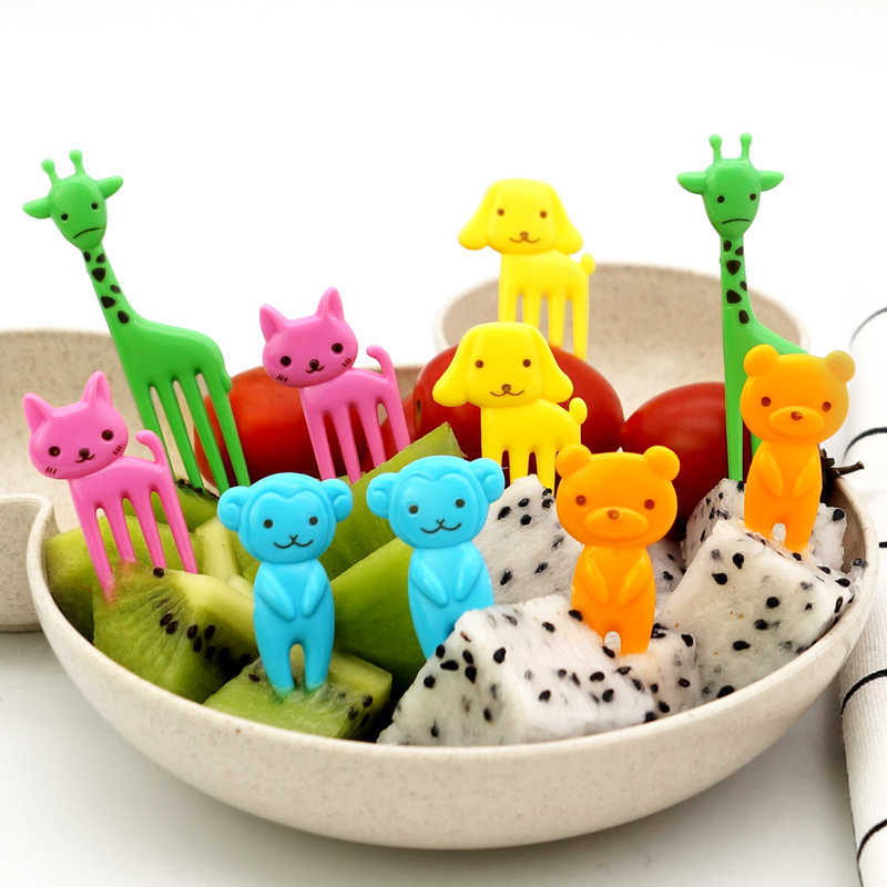 10 ชิ้น/เซ็ตเด็กน่ารักส้อมอาหารเด็กชุดอาหารเด็กวัยหัดเดินอาหารเย็นแบบพกพาภาชนะทารกบนโต๊ะอาหารเด็กอาหาร
