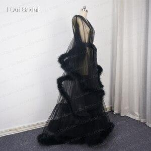 Image 5 - Borgonha pluma robe boudoir tule ilusão nupcial robe longo presente para a noiva vestido de festa do baile