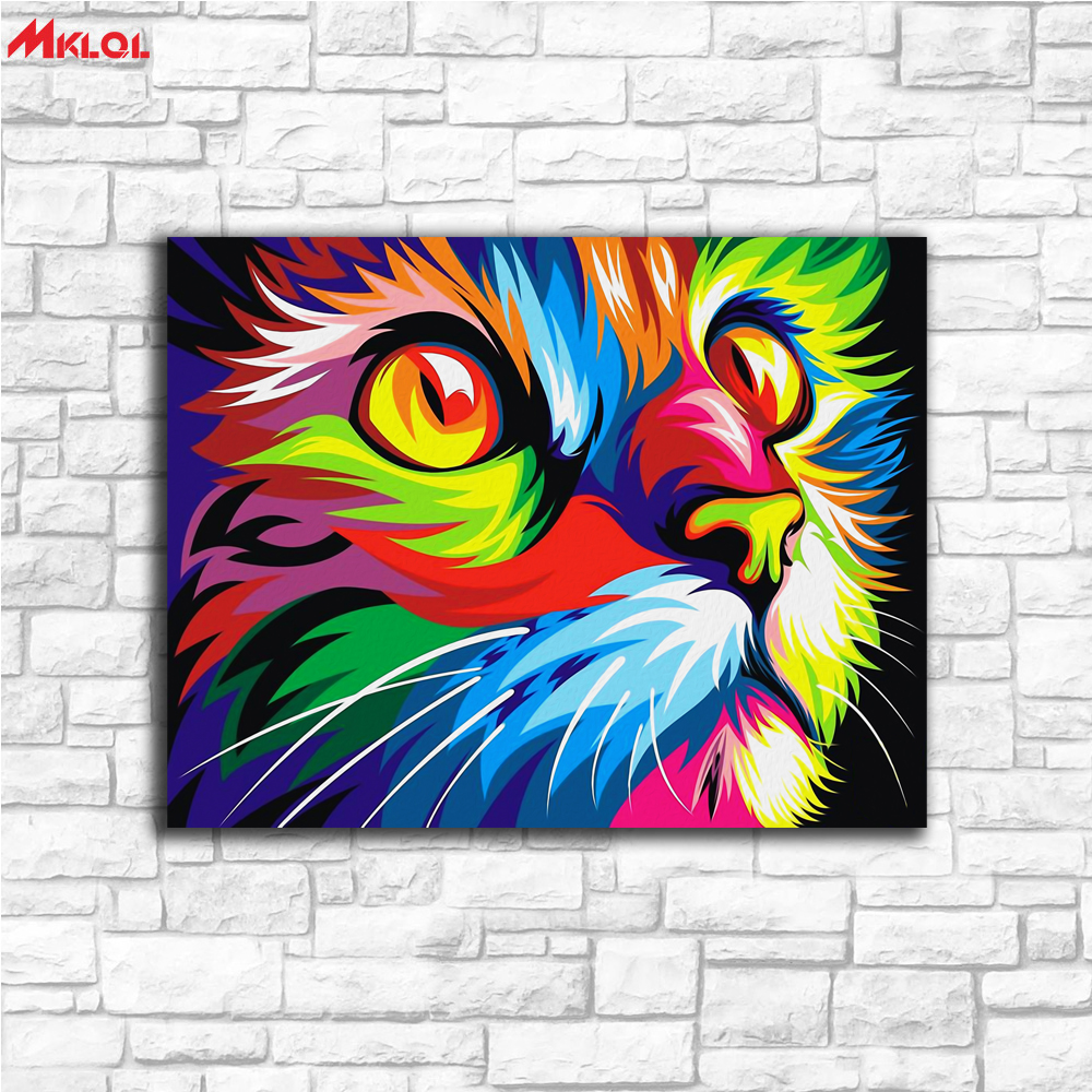 Large Wall Art Colorful Cat Canvas Painting For Living Room Home Decoration Oil Painting On Canvas Wall Painting Unframed