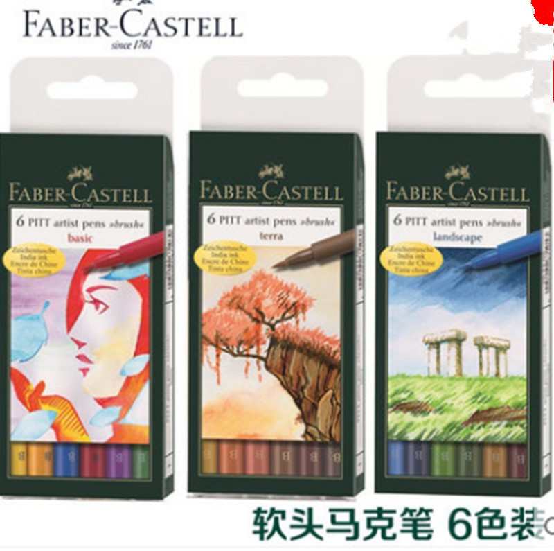 ФОТО Faber castell water-based soft head professional mark pen 2-illust 6 grey set