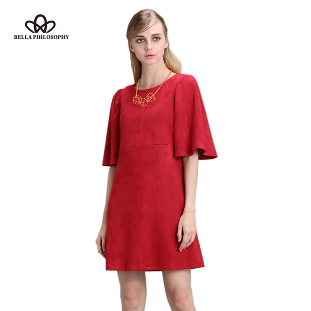 Bella philosophy 2017 primavera otoño de loto manga de la mariposa dress cremallera lateral doble faux suede verde oscuro rojo mujeres dress