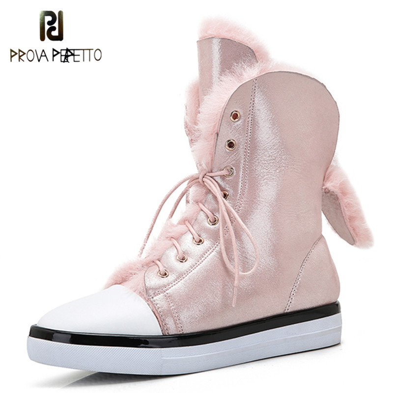 Prova Perfetto 2018 Winter Warm Fur Boots Fashion Girl Pink Snow Boots Round Toe Lace-up Flat Shoe Laces Plush Women Ankle Boots shoes women flat winter ankle autumn snow boots 2017 female lace up fur boots brand outdoor sport girl shoe size 35 41 page 6