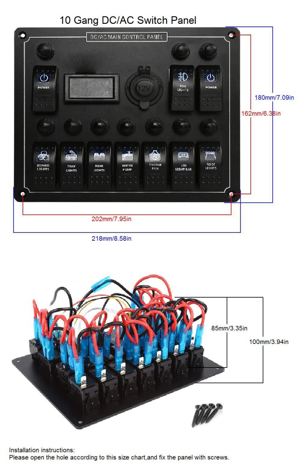 10 gang waterproof car auto boat marine led ac dc rocker switch panel circuit breaker digital voltmeter 12v cigarette socket in car switches relays from  [ 971 x 1500 Pixel ]