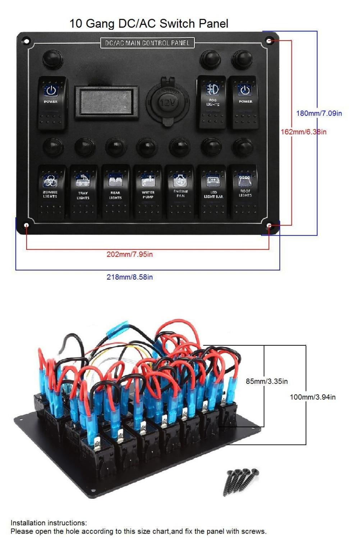 Boat Ac Dc Panel Wiring Electrical Diagrams Circuit Breakers Aliexpress Com Buy 10 Gang Waterproof Car Auto Marine Led 6 Wire Cdi Diagram