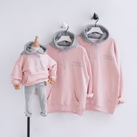 Cartoon Family Matching Outfits 2018 Fashion Family Look Mother Baby Cotton Mommy And Me Clothes Family Clothing Hoodies Tops