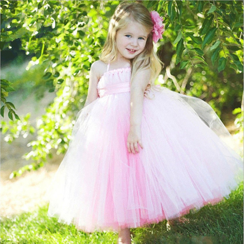 Baby Girls Flowers Girl Dresses Ribbons Bow Princess Tutu Dress 1-8Years Kids Party Bridesmaid Wedding Dresses Gowns Vestidos amazing style girl wedding dress short sleeve with flowers kids party dresses for girls baby infant 1lot 5pcs lh705
