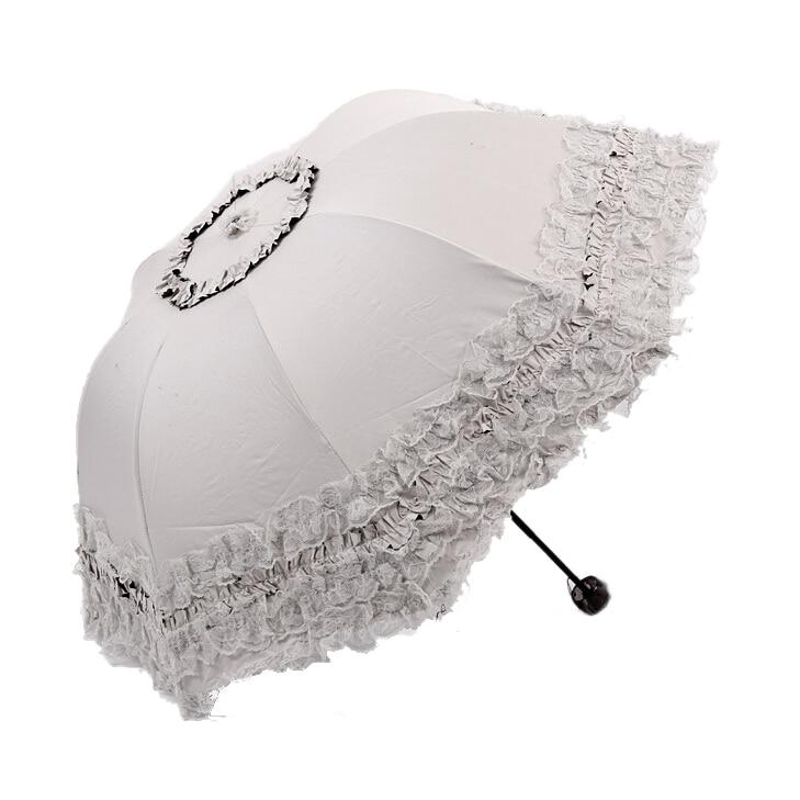 Women's Princess Dome/Birdcage Sun/Rain Folding Umbrella For Wedding Lace Trim beige large double layers folding umbrella windproof rain gear