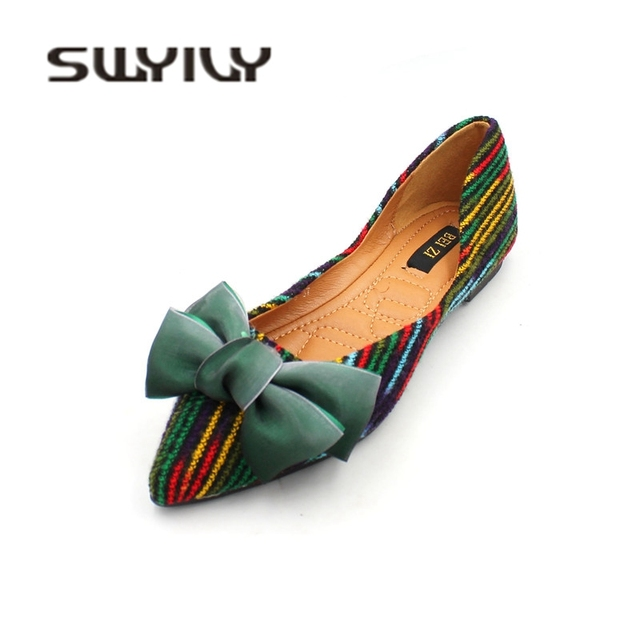 cb9451c3a SWYIVY Woman Flats Shoes Pointed Toe Bow 2018 Autumn Female Casual Shoes  Comfortable 2019 Spring Flock