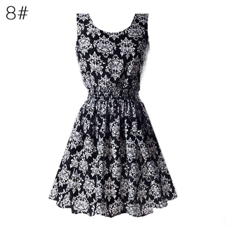 22 Colors Summer Women Dress Tank Chiffon Beach Dresses Sleeveless Floral Vestidoes M-XXL