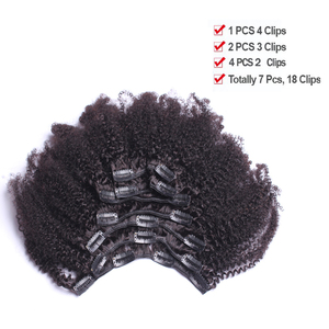 Афро кудрявые волосы на клипсах для наращивания человеческих волос 4B 4C 100% человеческие натуральные волосы на клипсах бразильские волосы Remy...