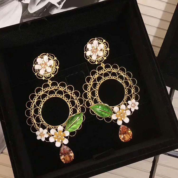 Luxury brand jewelry circle green leaf white water drop Rhinestone inlay hollow double ring earrings wedding jewelry vintage leaf water drop earrings