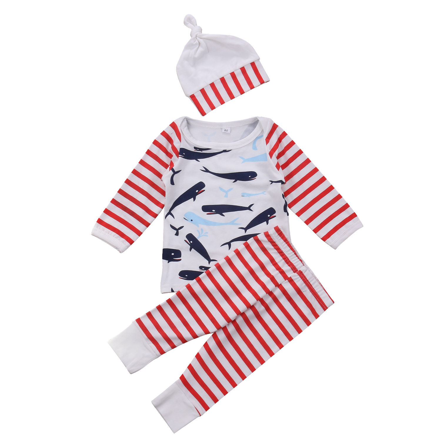 3pcs Newborn Infant Baby Boy Girl Whales Outfits Clothes Set Babies Stripes T-shirt Pants Hats Leggings Clothing Pjs